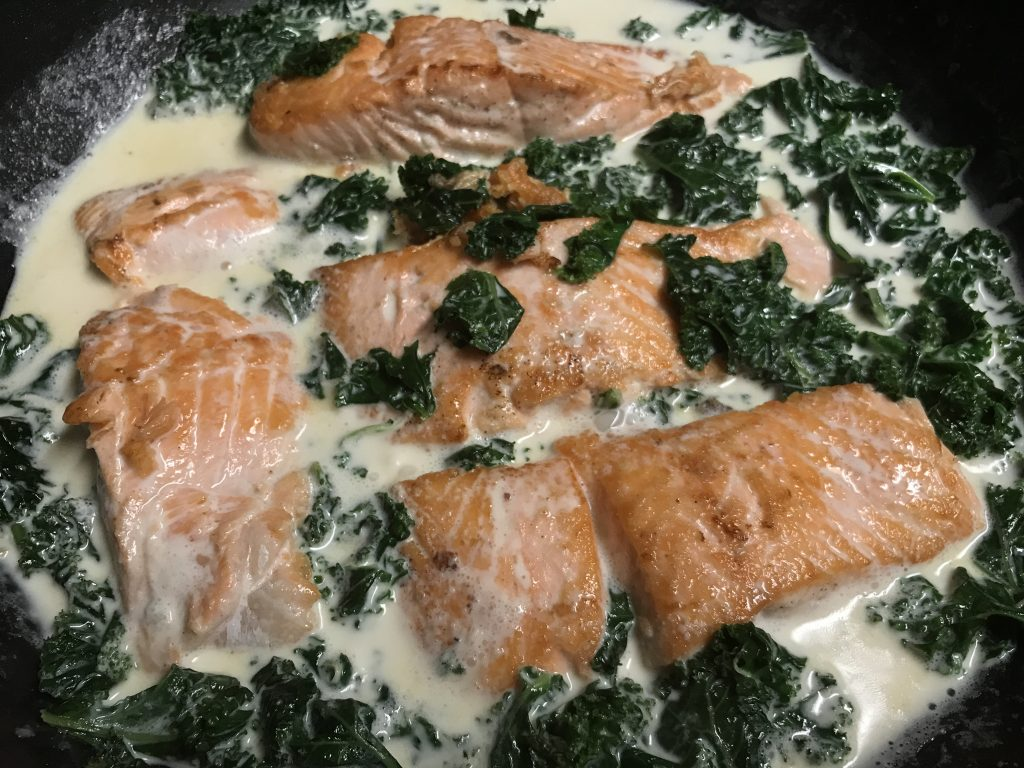 creamed kale and salmon